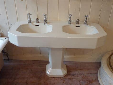 Small Art Deco French Double Basin C., Antique Basins