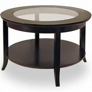 Genoa round wood coffee table with glass top in dark for Espresso wood and glass coffee table