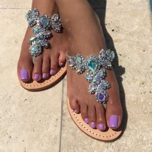 colorful jeweled sparkly sandals flat summer beach flip