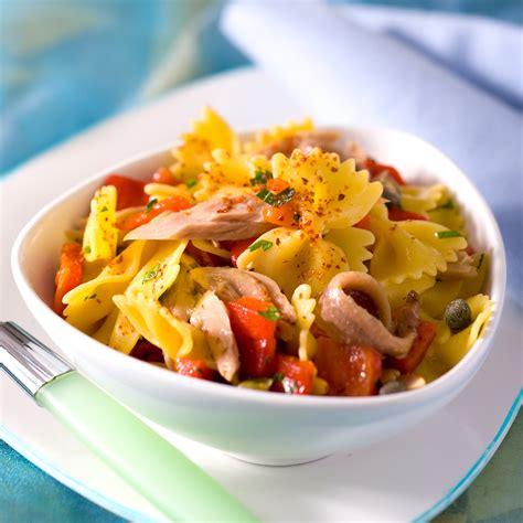 cuisine salade salade de pâtes au poivron et au thon facile et pas cher