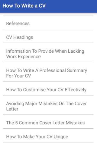 how to write a cv android apps on play