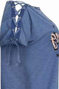 Denim Blue 'Los Angeles' Bardot Top With Lace Up Sleeves ...