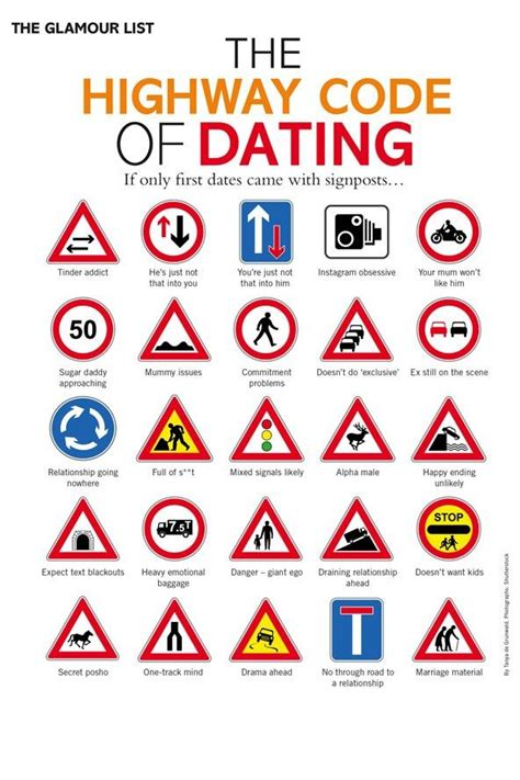 Here's The Highway Code Of Dating From July Glamour. Giveaway Banners. Ergonomics Signs. November 5th Signs Of Stroke. Kobe Bryant Banners. Luxury Stickers. Good Morning Banners. Snowboard Logo. Responsive Banners