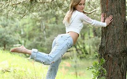 Barefoot Jeans Trees Wallpapers Nature Heels Legs