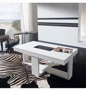 Table Basse Relevable Blanche : table basse relevable design blanche placage ch ne d co et ~ Teatrodelosmanantiales.com Idées de Décoration