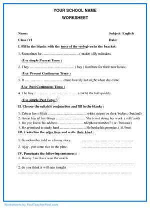 worksheets  std vi english find teacher post worksheets