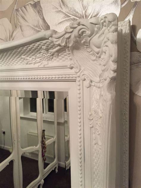huge french white decorative ornate mirror  frame