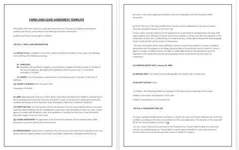 Land Rental Agreement Template by Agricultural Property Lease Template Forms