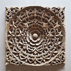 Balinese hand carved wood wall art panel siam sawadee