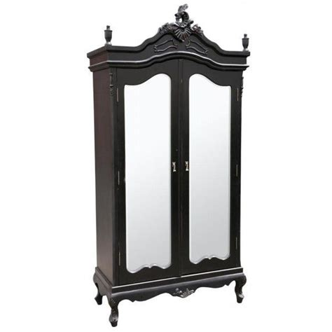 Black Armoires Wardrobe Black Rococo Louis Mirrored Armoire Wardrobe Home