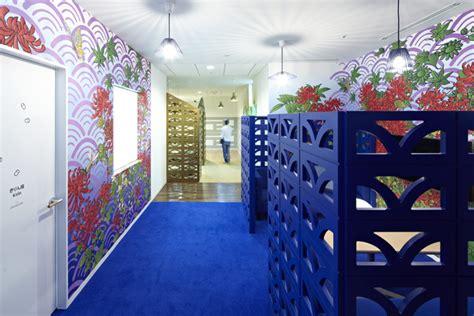 blue cubicle walls flower wallpaper interior design