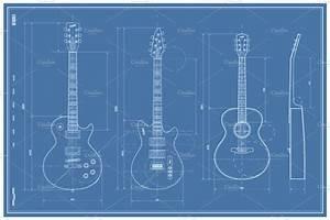 Vector Blueprint Guitar