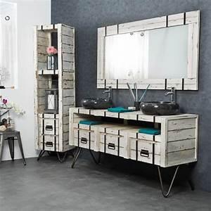 Salle De Bain Style Industriel : colonne de rangement en bois mindi massif m tal loft ~ Dailycaller-alerts.com Idées de Décoration