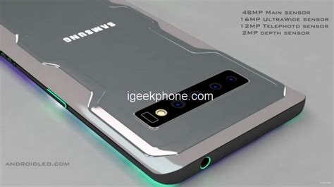 samsung galaxy g10 lit up in a concept with a superb lighting system