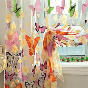 Butterfly Door Curtain by Butterfly Sheers Curtains Voile Tulle Floral Window Door