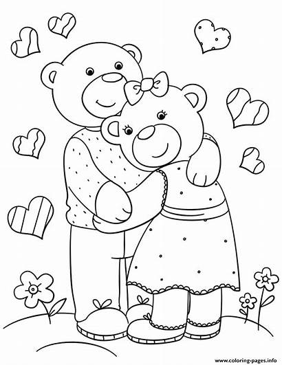 Coloring Hugging Pages Bears London Printable St