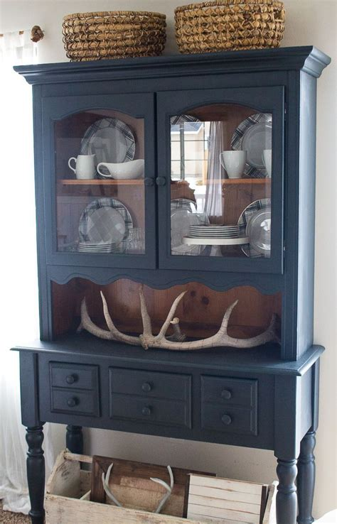 farmhouse style  painted furniture navy blue hutch