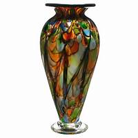 blown glass vases Hand Blown Opaque Rainbow Spotty Cauldron Vase: The