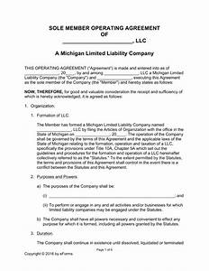 Michigan single member llc operating agreement form eforms free fillable forms for Free operating agreement for single member llc