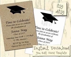 Graduation invitation template with a Mortarboard design