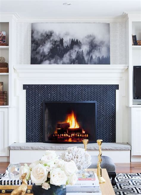 herringbone fireplace ideas  pinterest