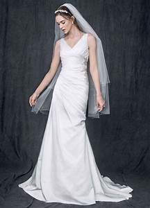 strapless satin v neck gown with ruched bodice david39s With ruched bodice wedding dress