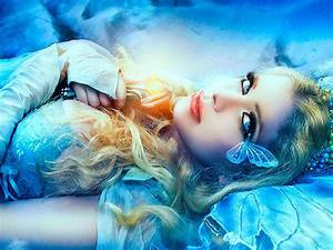 Beautiful, Blue, Girl, With, Blue, Eyes, And, Red, Lips, Fantasy, Art, Desktop, Wallpaper, Hd, Resolution