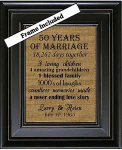 framed 50th wedding anniversary 50th anniversary gifts With 50 year wedding anniversary gift