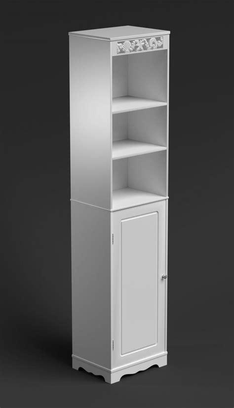 White Tall Bathroom Cabinet Narrow Cupboard Slim Storage