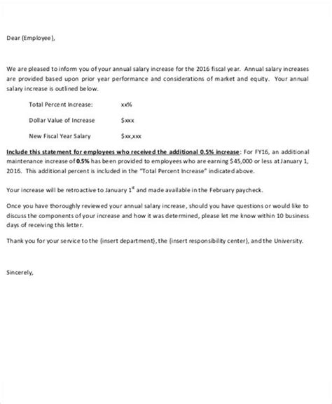 salary increase letter template from employer to employee salary letter templates 5 free sle exle format free premium templates