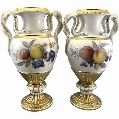 Meissen Porcelain Germany Snake Urns Vases Hand