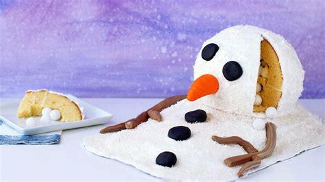 melting snowman surprise cake recipe tablespooncom