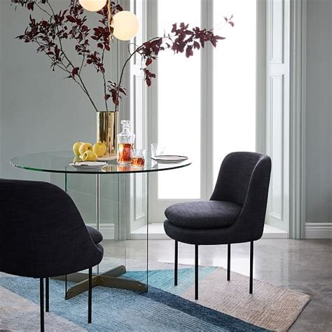 Modern Curved Upholstered Dining Chair  west elm