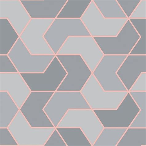 rasch portfolio grey rose gold geometric wallpaper