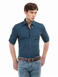 Buy Calvin Klein Jeans Men Blue Slim Shirt - 320 - Apparel for Men - 119155