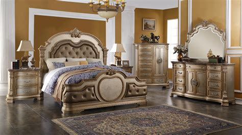 luxurious infinity gold bedroom set 4 pc free