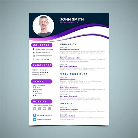 Design Resume Template by Purple Resume Design Template Free Vectors