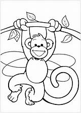 Coloring Monkeys Pages Children Funny Printable Justcolor sketch template