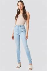 High Waist Skinny Jeans Blue | na-kd.com