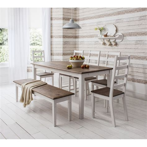 dining table  chairs canterbury white  dark pine