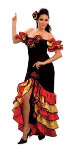 Rumba Woman Spanish Flamenco Dancer Costume   National Dress Costumes