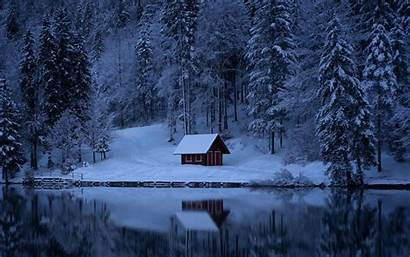 Snow Winter Forest Lake Nature Background 1080p