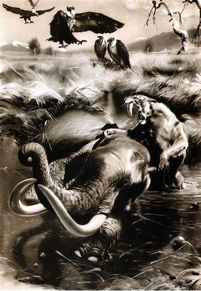 Prehistoric Animals Burian Zdenek Mammoth Smilodon Paintings