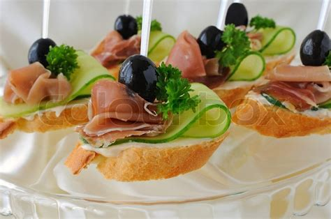 ham canapes canapes with ham stock photo colourbox