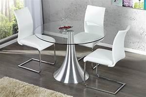 Glastisch Rund 90 Cm : design esstisch town glastisch rund aluminium tulpenfuss dunord ~ Indierocktalk.com Haus und Dekorationen