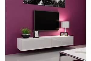 Lowboard Weiß Hochglanz 3m : meuble tv mural enzo 180 madely ~ Markanthonyermac.com Haus und Dekorationen