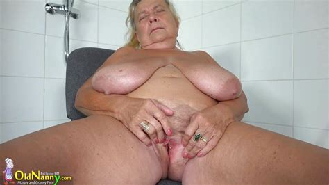 Hedwig In Granny With Huge Saggy Boobs Masturbates In The