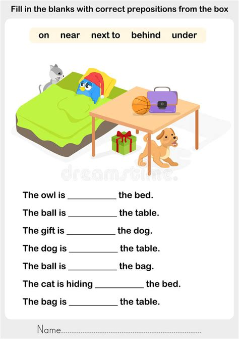 Fill In The Blanks With Correct Prepositions Stock Vector  Illustration Of Correct, Fill 80267600