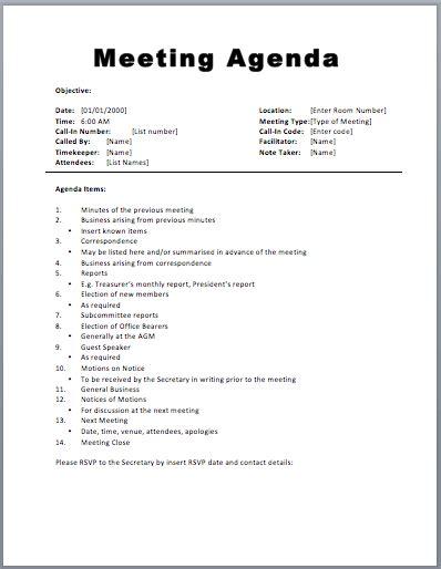 basic meeting agenda template printable meeting agenda