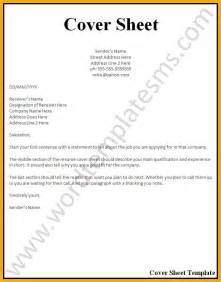 Resume Cover Sheet Template by 6 Resume Cover Page Bursary Cover Letter